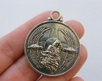 BULK 10 Wolf pendants antique silver tone A586