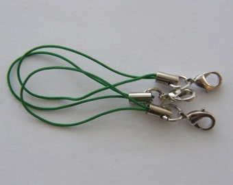 BULK 50 Green and silver cell phone strap 70mm with lobster clasp