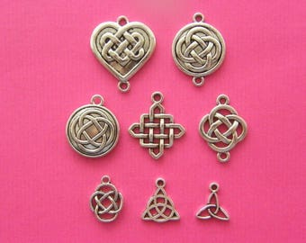 The Celtic Knot Collection - 8 antique silver tone charms