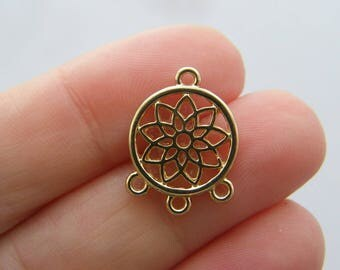 6 Lotus flower connector charms gold tone GC63