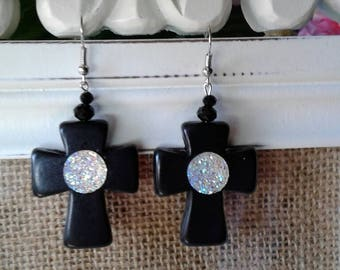 Large Black Cross Earrings