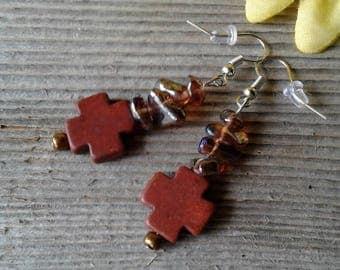 Country Bling Cross Earrings