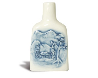 blue and white bottle / perfume bottle / oil bottle / potion bottle or witch bottle by Anita Reay hand crafted ceramic high relief porcelain