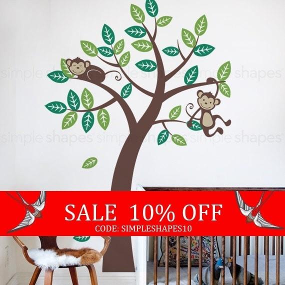 Sale - Wall Decals - Tree with Monkeys - Kids Vinyl Wall Decal Sticker - Tree Wall decal