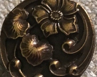 BATTERSEA BUTTON metal raised FLOWERS just over .75""