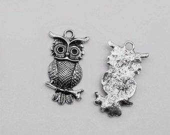 10 pcs 30x15mm Owl Charms - Antique Silver, Owl Pendants, Metal Charms, Alloy Charms, Metal Pendants