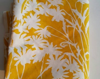 Vintage Cotton Canvas, Canary Yellow and White Daisy Silhouette Fabric