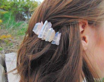 Boho Hair Accessories Crystal Barrette Crystal Hair Clip Raw Crystal Quartz Barette Hair Accessories for Women Hair Barette Dynamo Boho Chic