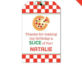 Pizza Party - Personalized DIY printable favor tags