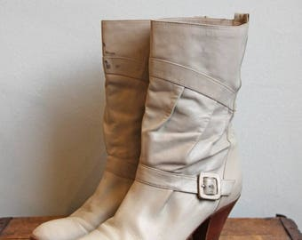 SALE Vintage Slouchy Light Grey Boots- White Beige Tan Heeled Tall Ankle 1980's Buckle- Size 7 1/2