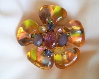 Vintage huge rhinestone gemstone pin brooch, lucite glass spectacular jewelry