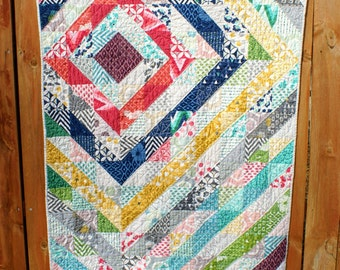 Colorful Baby Girl or Toddler Modern Handmade Quilt