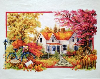 New Finished Completed Cross Stitch - Autumn story - L103