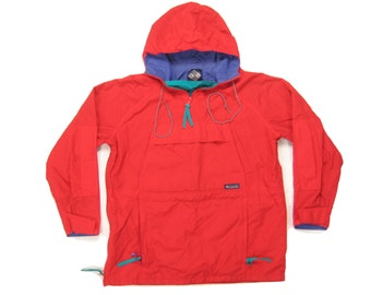 1980s Columbia Ski Parka Vintage Retro 1980s Red Hooded Kangaroo Pocket Packakble Pullover Shell Jacket Size Medium M