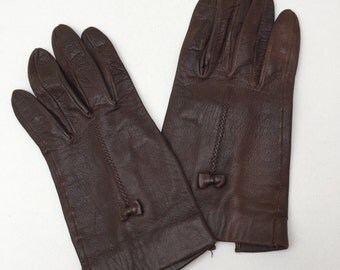 Vintage Chestnut Brown Leather Bow Detail Ladies Gloves