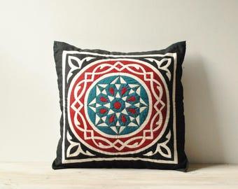 Vintage Hand Sewn Applique Pillow Cover, Throw Pillow Case