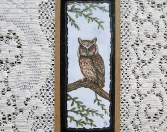 Bookmark Owl -  Hand made from artist Original Watercolor Print - Bird - Laminated
