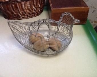 Wire Chicken Hen Basket Antique Egg Basket Primitive Country Rustic Kitchen Decor