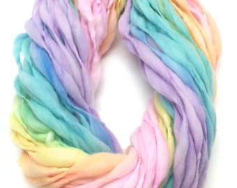 Pastel rainbow yarn handspun self striping and thick and thin in merino wool - 50 yards, 2.5 ounces/72 grams