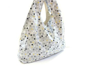 Tote bag, reusable market tote, grocery bag, grey black polka dots, Mothers day gift, book bag, beach bag, spa bag, cotton tote