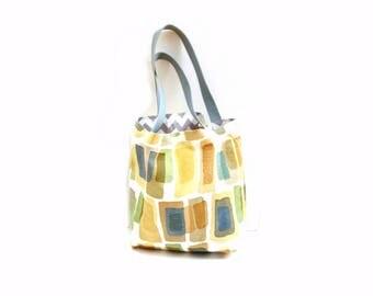Tote bag, reversible bag, cotton canvas, earth tones chevron, web strap, beach bag, market bag, shopping tote