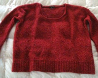 Eileen Fisher Boucle Sweater Red Melange Scoop Neck Merino Wool M