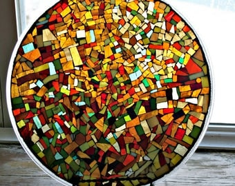 Mosaic Stained Glass Plate, Mosaic Plate, Trivet, Fall Colors, Earth Tones, Abstract Mosaic Art, For The Home, Autumn Decor - 15 inches