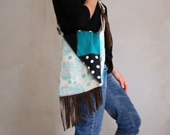New! cross body bag, hand printed fish on linen,leather,fringe,boho-chic, modern, triangle flap, turquoise,black,polka dots,natural flax
