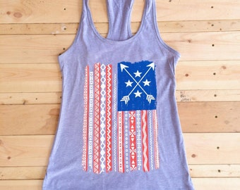American Flag Racerback Tank - Flag Tank top - Patriotic - Military - Tribal Flag - Red white and blue - Stars and Stripes