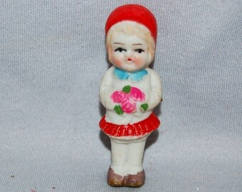 Girl Flowers Bisque Doll / Vintage / Bouquet / frozen charlotte / penny doll / Vintage dolls