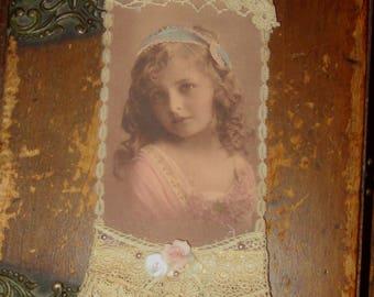 Vintage Lace Collage Sweet Serene Girl Embellished Altered Tag