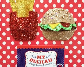 NEW Super Glitz! Fast Food Burlesque Costume Pasties Burger Fries Junk Food