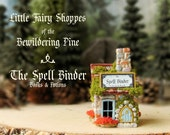 The Fairy Shoppes of The Bewildering Pine - The Spell Binder - Potions and Books - Chimney - Flower Boxes - Mossy Roof - Terrarium Decor