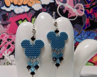 Mickey Mouse Blue Black and White Diamond Shape Double Sided Print Dangle Earrings