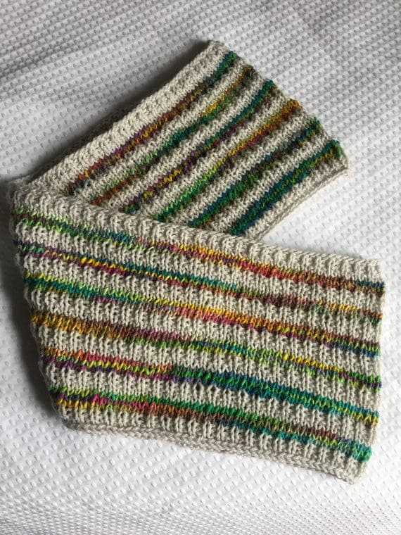 Textured rainbow striped recycled silk hand knit infinity scarf