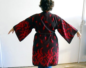 Plus size Kimono Womens clothing Wine Red Long Jacket Kaftan Top Kimono Robe