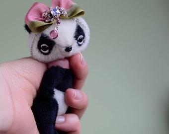Artist miniature panda bear, dollhouse teddy bear, stuffed toy for girl, soft toy for gift, collectible teddy bear, kawaii mini bear