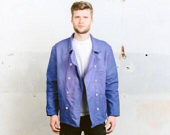 Moleskin Work Jacket . Mens Vintage Chore Coat Faded Distressed Jacket Indigo Blue Outerwear Car Mechanic Blazer . size Large L