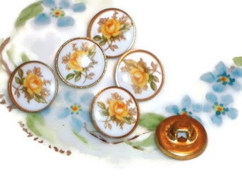 Vintage Glass buttons Japan Japanese Button Flowers Limoges One of kind Rare Floral Perennial. #927