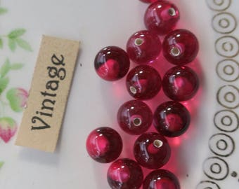 Half Drilled Vintage Beads Glass Pink Cranberry Marble Japan One Hole NOS Button Beads #1559J