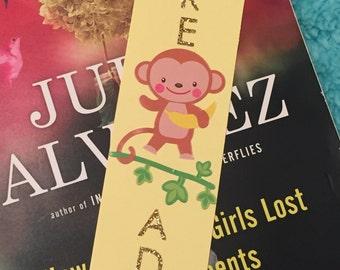 Bookmark Paper Cute Monkey Yellow Golden Kids Banana Read
