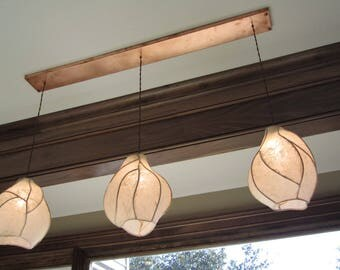 Chandelier Lighting - Paper Lantern Pendant Chandelier - Sculptural Copper and Paper Lanterns - Rectangular Copper Canopy - Farmhouse Rustic