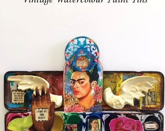 FRIDA KAHLO Collection of Vintage Watercolor Paint Tins, OOAK,  Wings to Fly No. 10