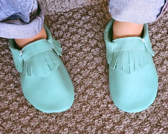 Turquoise Baby Blue Leather Baby Toddler Moccasins