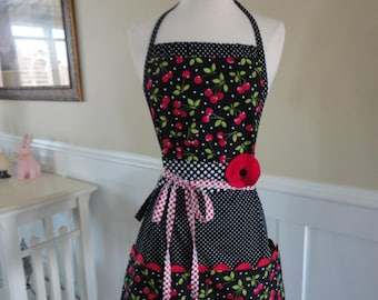 "Cherry Daze ~   ""Pockets & More Barbie Style""  Women's  Apron  - 4RetroSisters"