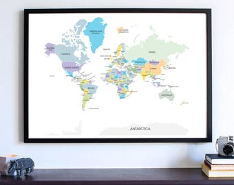Wanderlust Wall Art Print, Travel Map, World Map, All the countries in the world, Gifts travel PRINT, Map your Travels