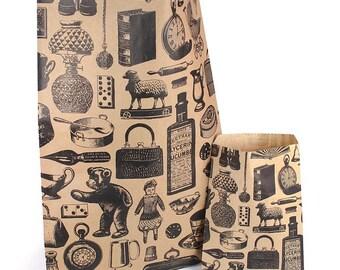 Large Victorian Life Print Kraft Brown paper bags