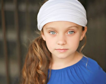 Girl's Stretchy Headband, White Head Wrap, Spandex Headband, Girl's Dance Headband, Girl's Wide Headband, Solid Color (#1014) S M L X
