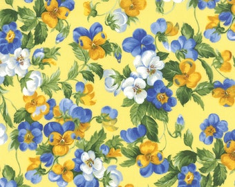 PANSIES Moda Fabric 1/2 yd Blue & Yellow shabby quilting sewing Victorian Summer Breeze III Sentimental Studios half yard 32941-12