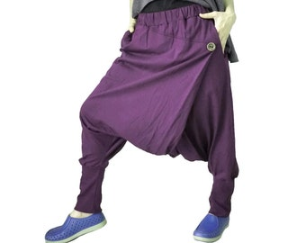 Women Men Pants - Drop Crotch Plum Cotton Jersey Pants With 2 Side Pockets And Elastic Waist Band
